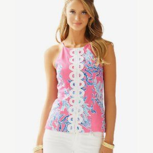 Lilly Puliter Annabelle Top in Capri Pink Samba